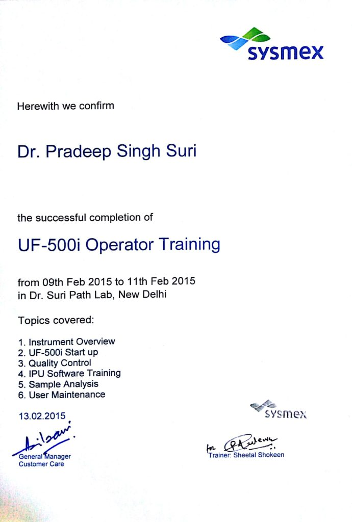 Sysmex Completion of UF-500i Operator Training