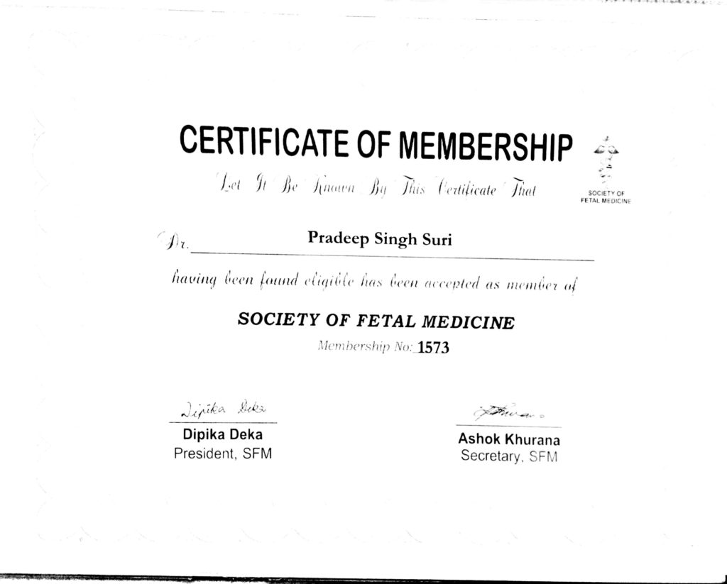 Certificate of Membership (Society of Fetal Medicine)