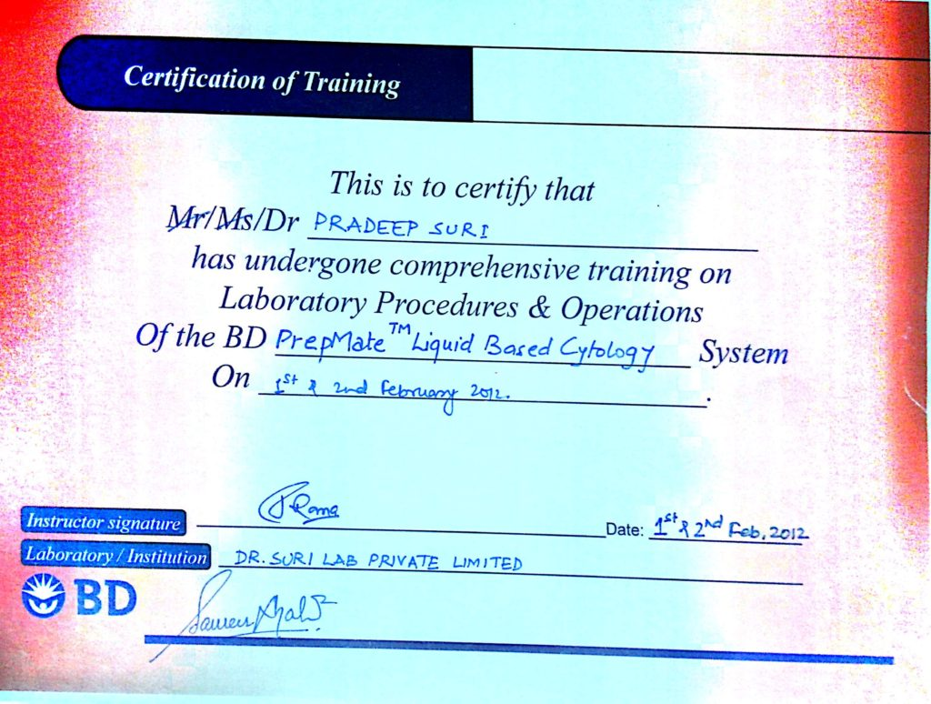 Certification of Training