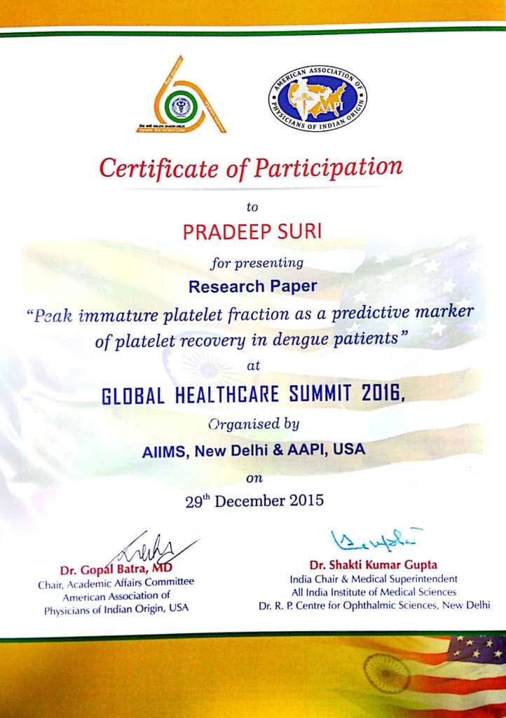 Certificate of Participation (Global Healthcare summit 2016)