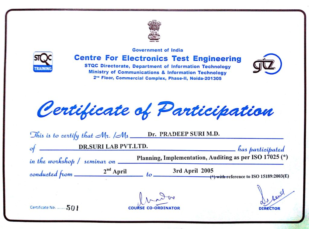 Certificate of Participation (Centre for Electronics Test Engineering)