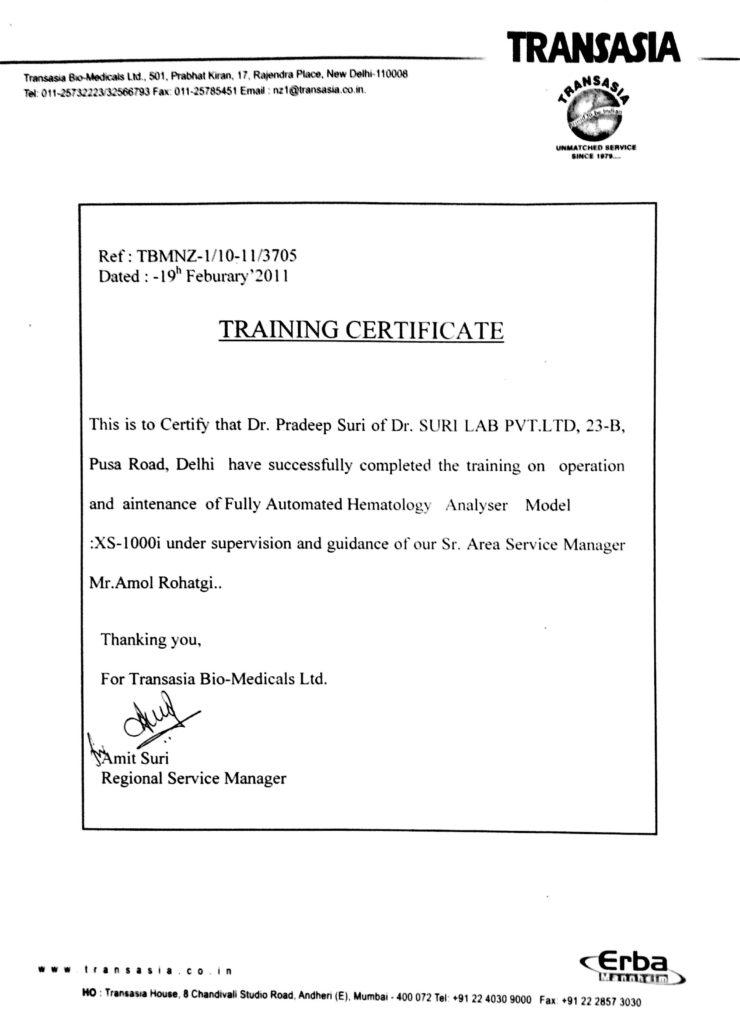 Training Certificate (Transasia)