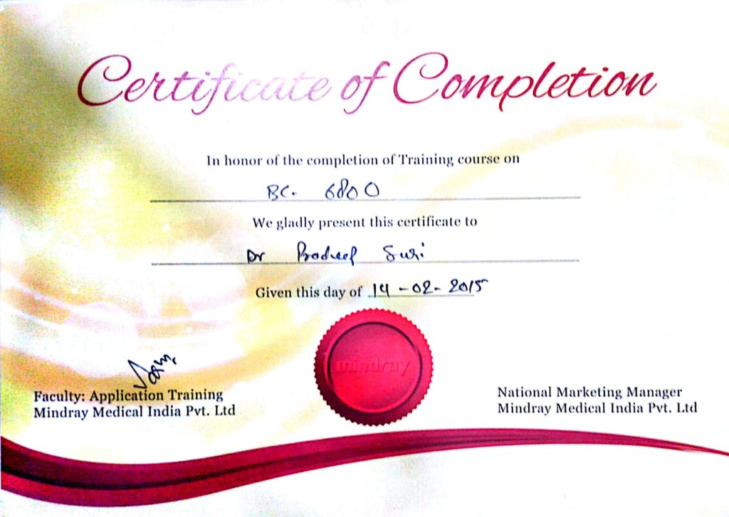 Certificate of Completion (In honor of the completion of Training course on BC 6800)