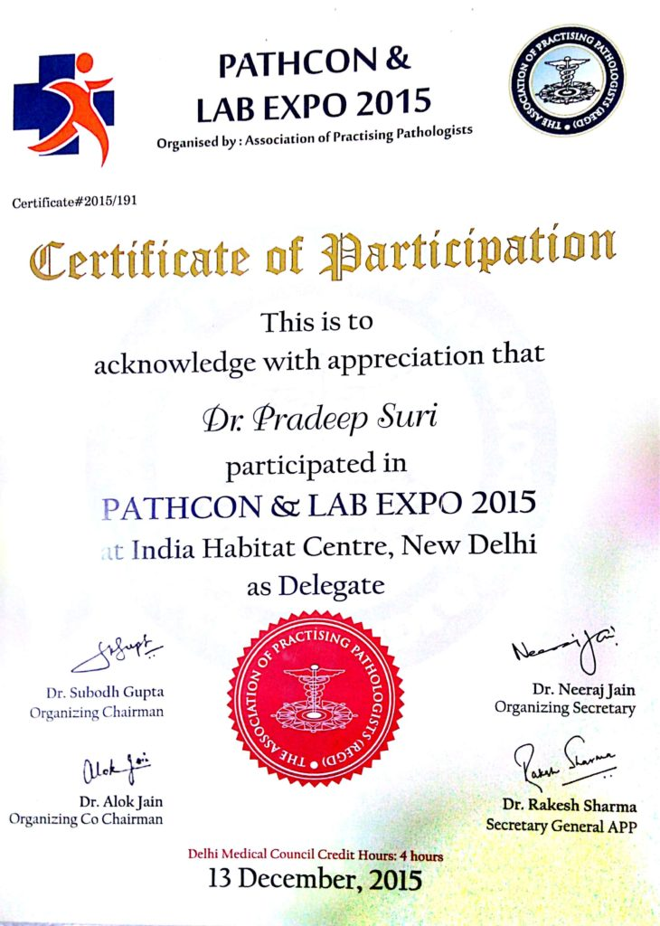 Certificate of Participation (Pathcon & Lab Expo 2015)