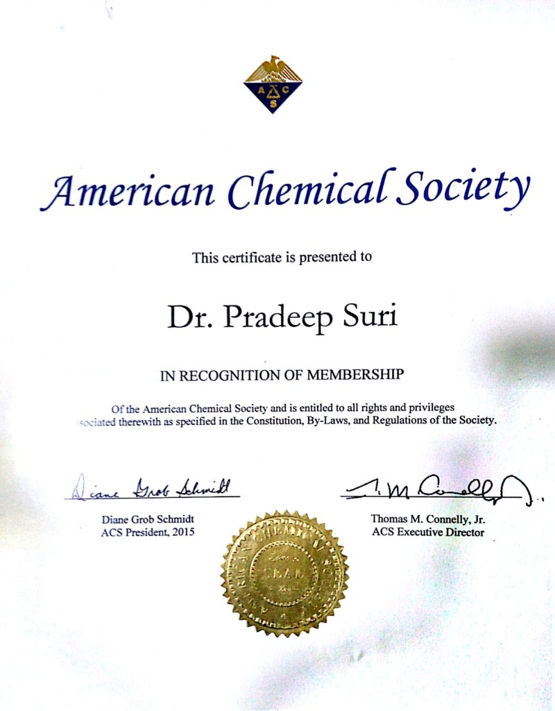 American Chemical Society (In Recognition of Membership)