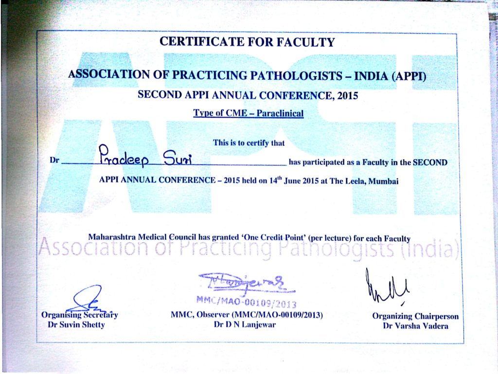 Certificate for Faculty (Second APPI Annual Conference, 2015)